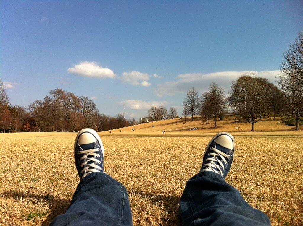 スニーカーと草原