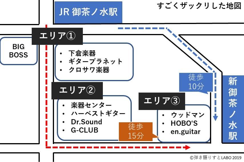 御茶ノ水駅の楽器店マップ