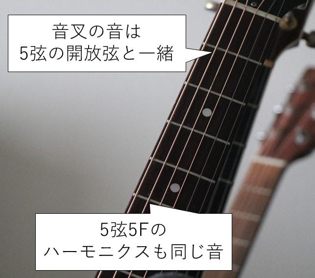 ギターの5弦開放弦と音叉の音は一緒