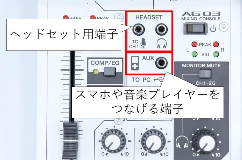 AG03のヘッドセットとAUX端子