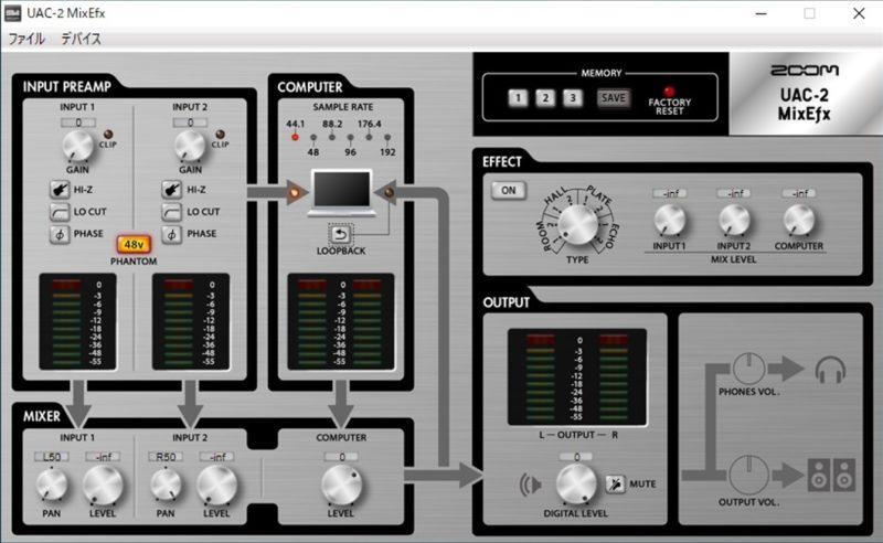 ZOOM UAC-2の専用ソフトウェア