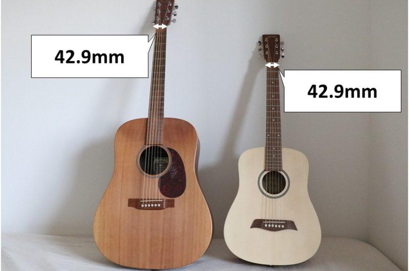 普通のギターとミニギターでナット幅の違いはない