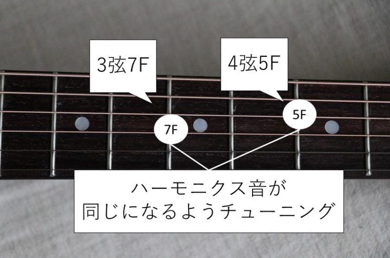 4弦と3弦のハーモニクスチューニング