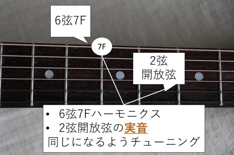 6弦と2弦のハーモニクスチューニング