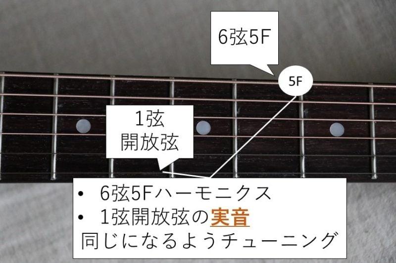 6弦と1弦のハーモニクスチューニング