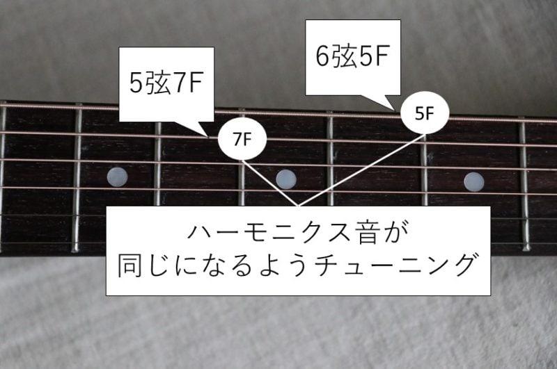 6弦と5弦のハーモニクスチューニング