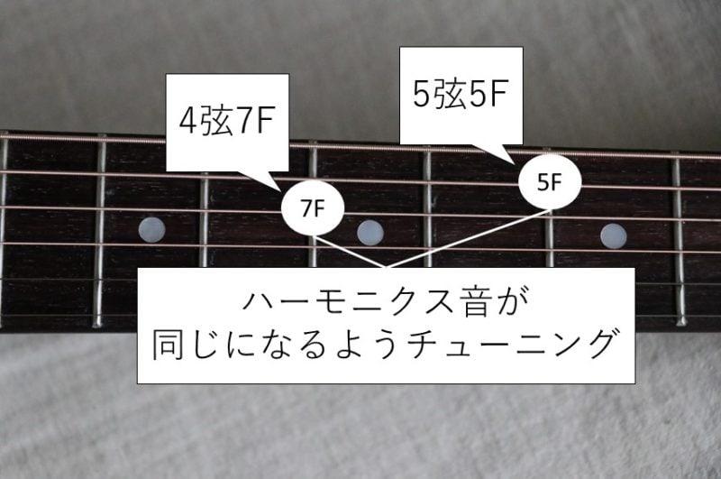 5弦と4弦のハーモニクスチューニング