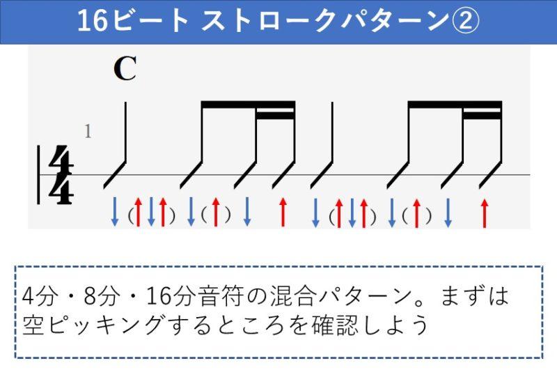 16ビートのストロークパターン 色んな長さの音符の混合