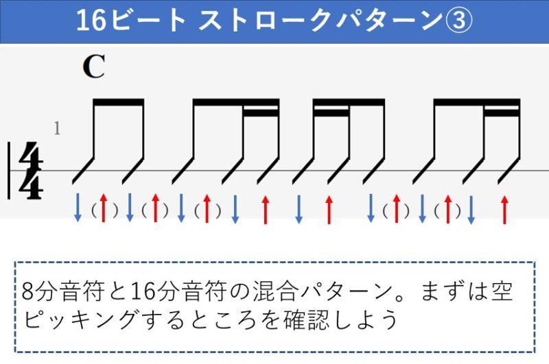 16ビートのストロークパターン 8分音符と16分音符の混合