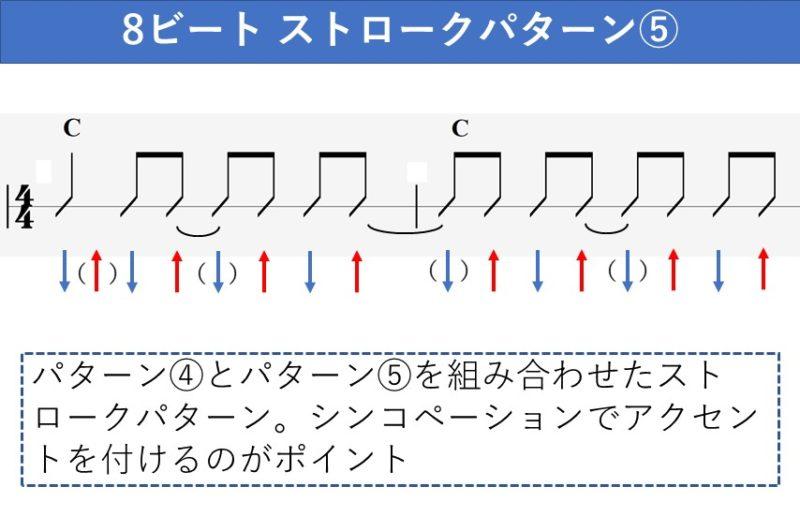 8ビートのギターストロークパターン 複数のシンコペーション