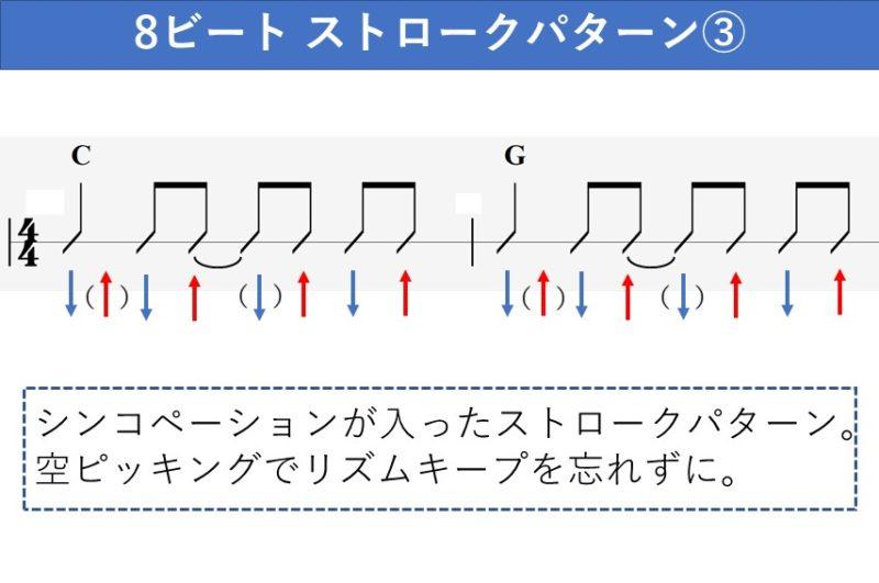 8ビートのギターストロークパターン シンコペーション入り