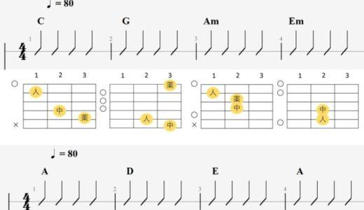 初心者が覚えるべき ギターコード 10個を練習用の譜例付きで解説