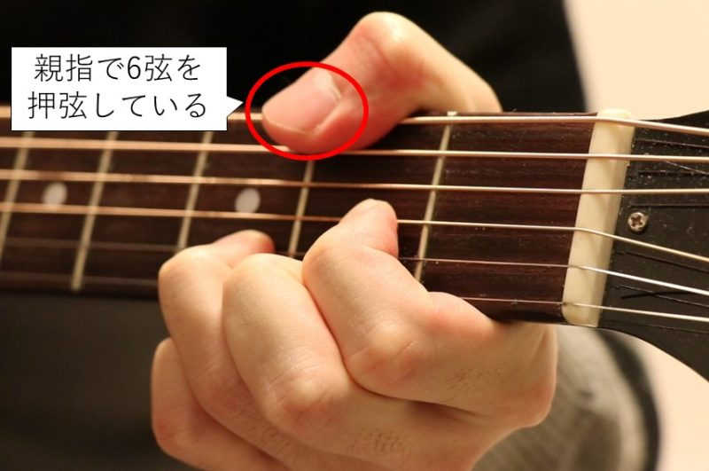 D/F#を押さえた場合の親指の位置