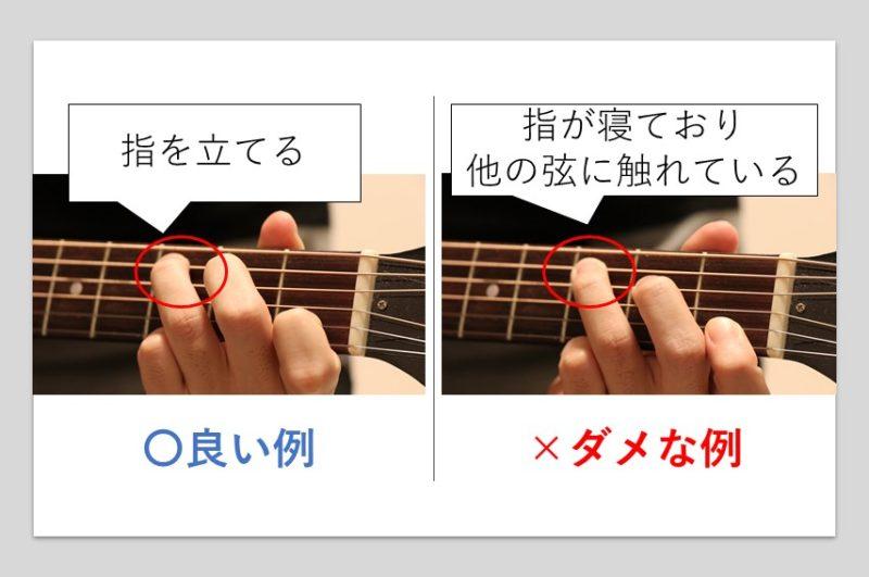 コードを押さえる指を立てた場合と寝かせた場合の比較