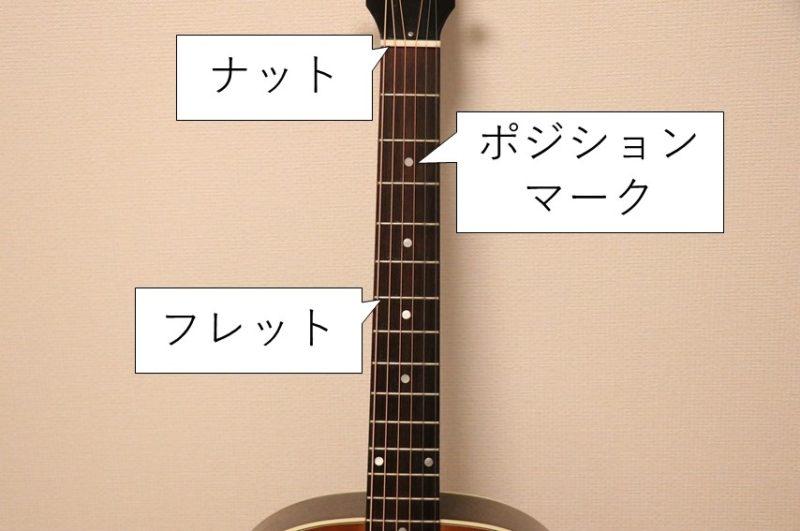 ギターネックのパーツ名称