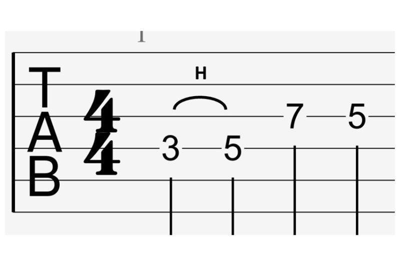 tab譜のハンマリング表記