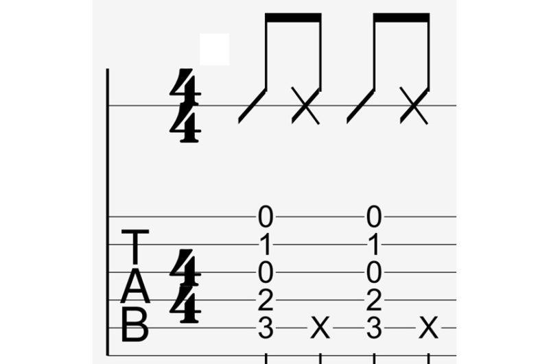 tab譜のブラッシング 表記