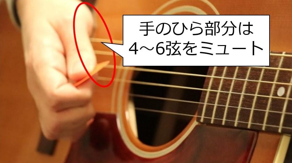 ブリッジミュートでは手のひらは4~6弦をしっかりミュートする意識を持とう