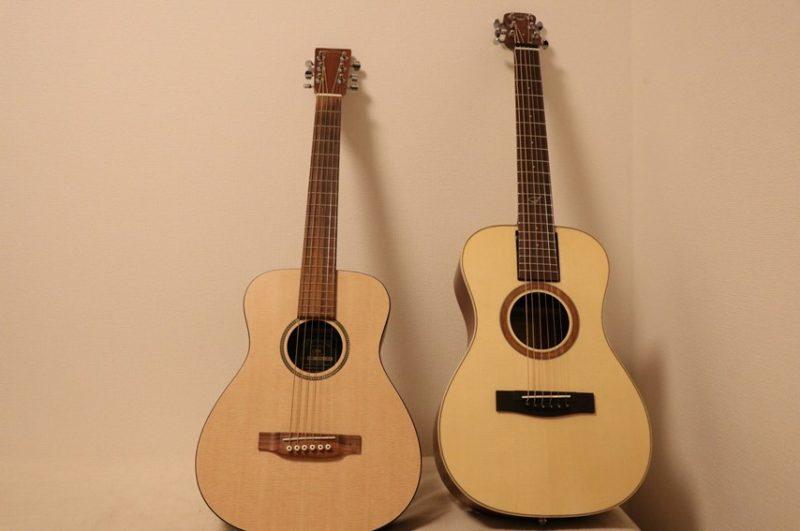 OF410とミニギターを並べた