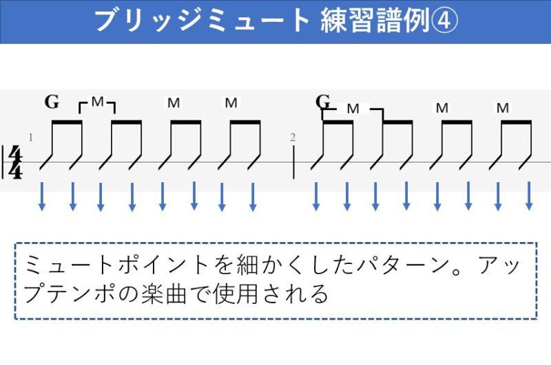 ブリッジミュート練習譜例 ミュートを細かく刻む