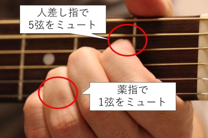 Aコードの左手ミュート方法