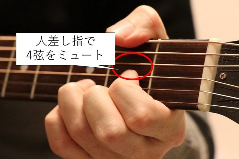 Dコードのブラッシングでは人差し指で4弦をミュートする