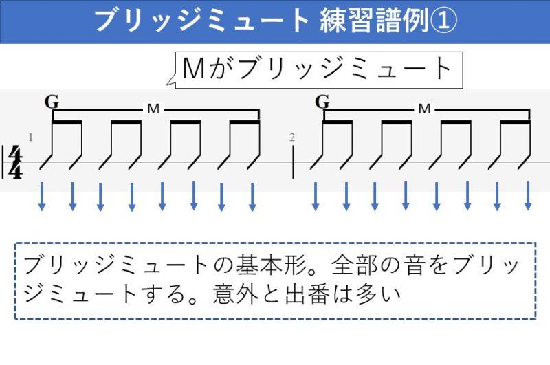 ブリッジミュートの練習譜例 全部の音をブリッジミュート