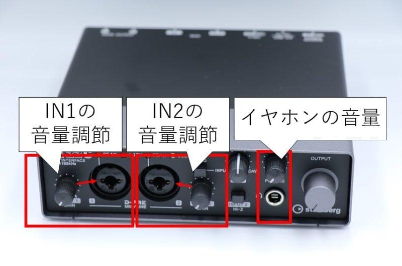 UR22Cの音量調節ツマミ