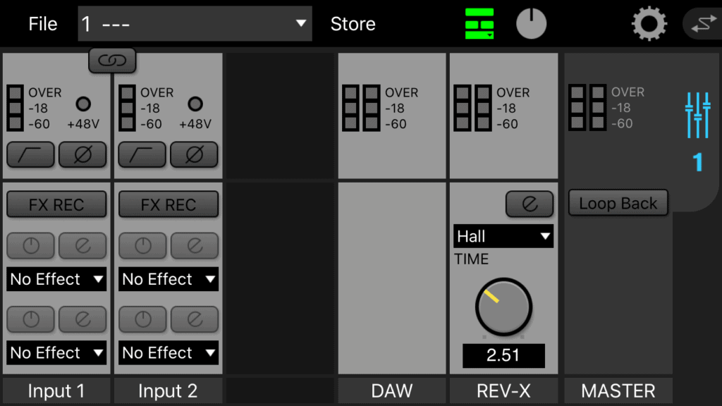 UR22Cのミキサー iPhone画面