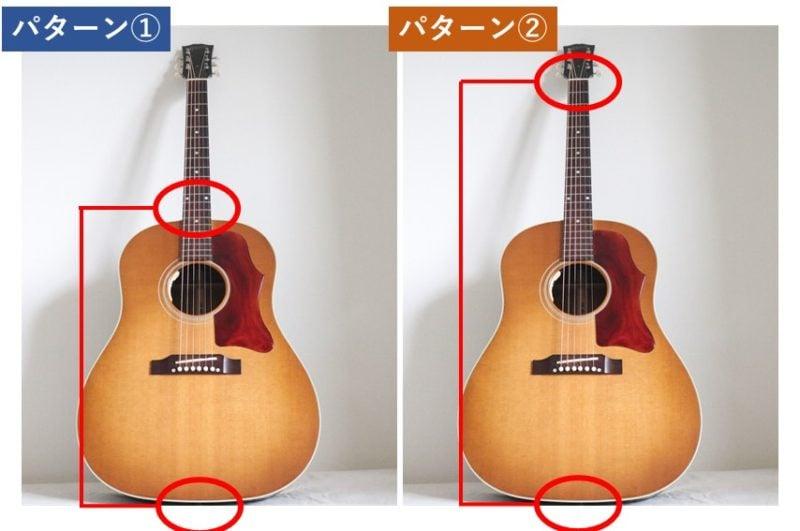 ギターストラップの取り付け位置