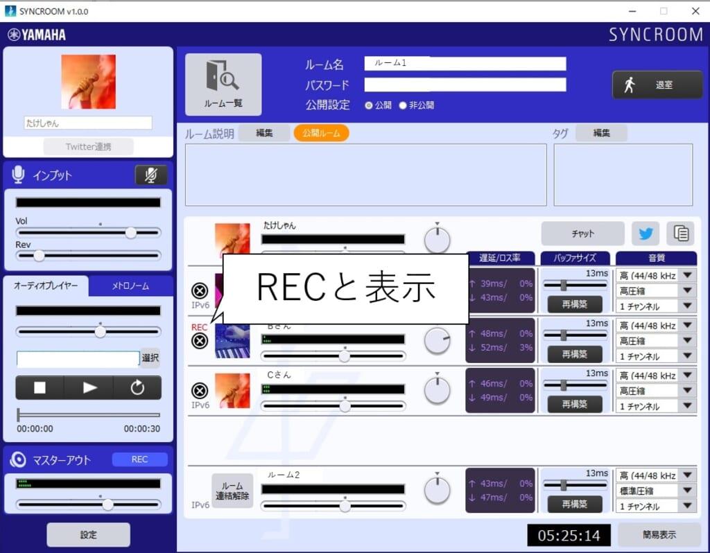syncroomのREC中画面