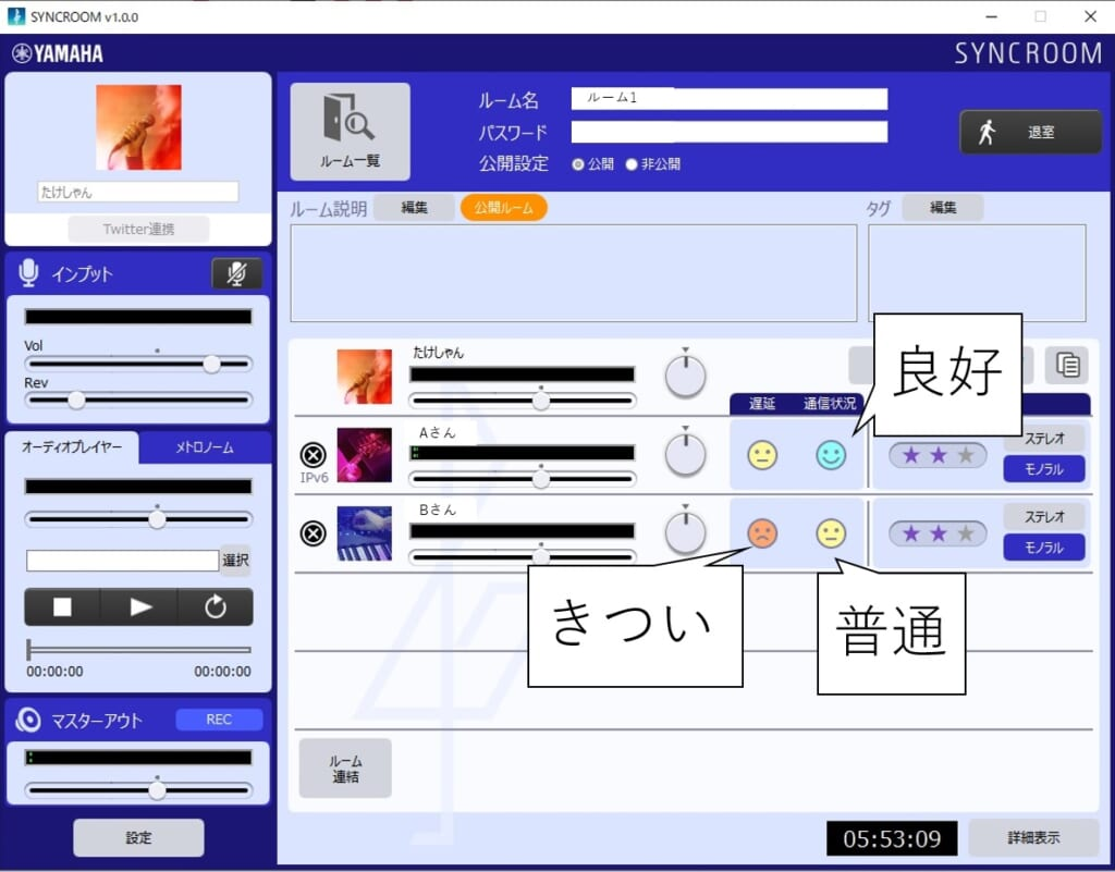 syncroomの通信状況と表情