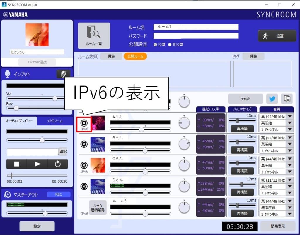 syncroomのIPv6表示