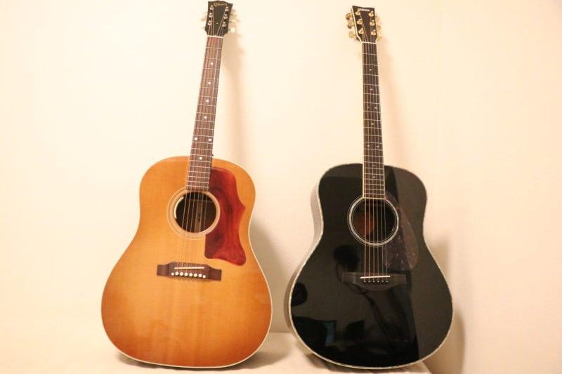 Gibson J-45とYAMAHA LL16D AREを並べた