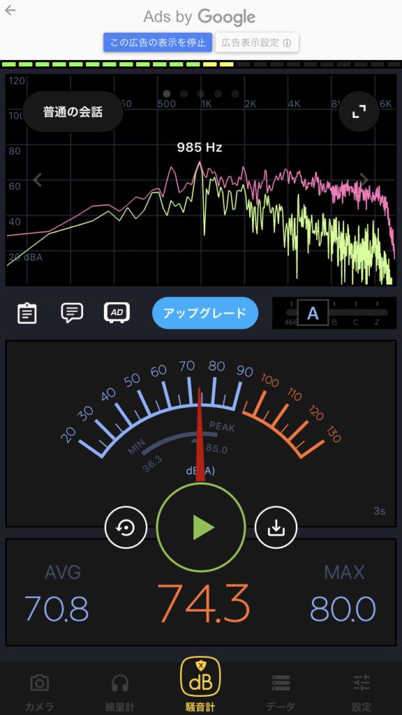 SLG200Sを弾いたときの騒音計アプリ