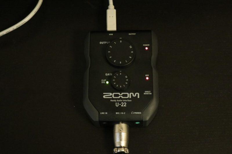 ZOOM U-22でレコーディングしているところ