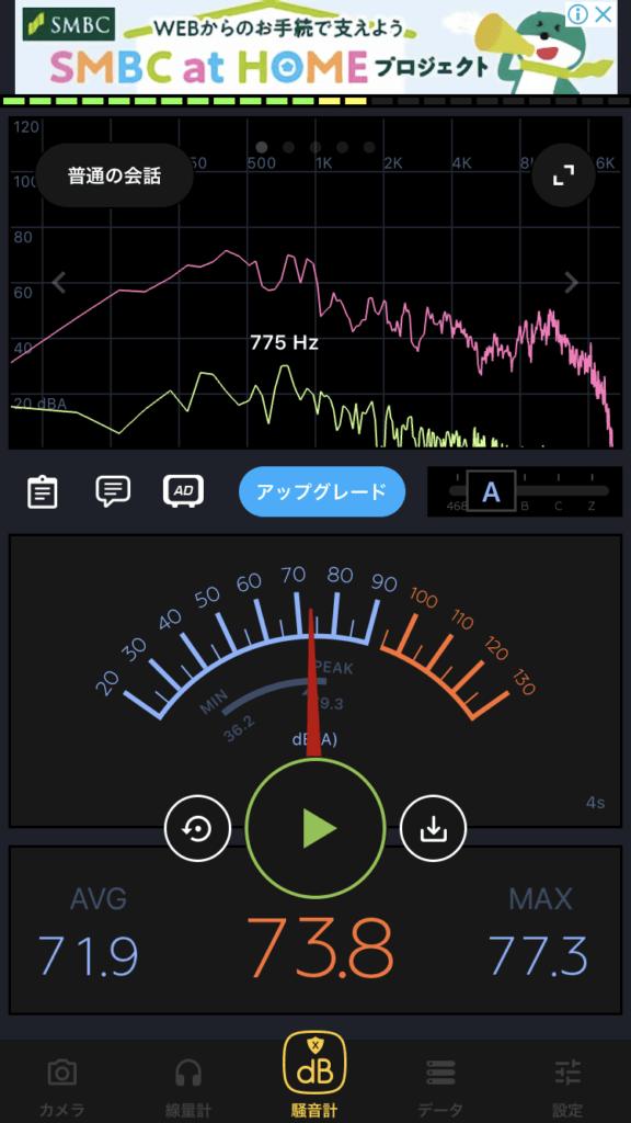 Zoom飲み会しているときの騒音計アプリ