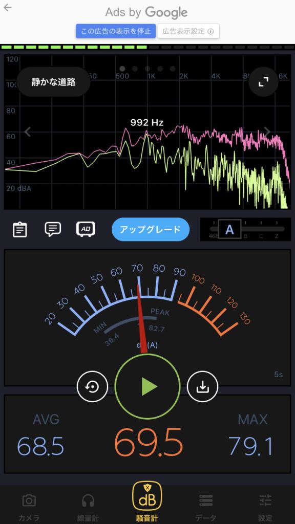 エレキギターを弾いたときの騒音計アプリ