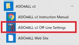 Windowsスタート画面からASIO4ALLを選ぶ