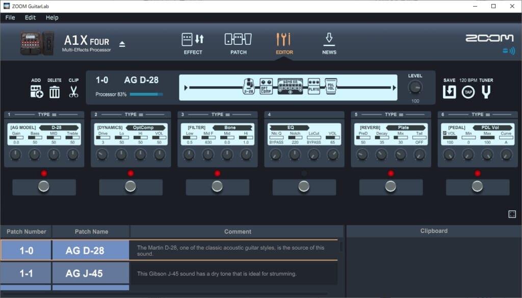 A1X Four Guitar Labの画面