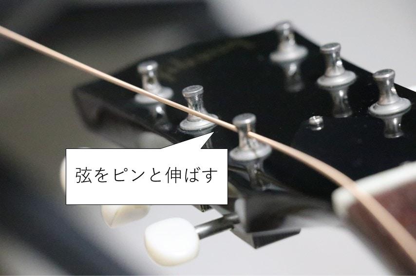 弦をペグに入れてピンと伸ばす