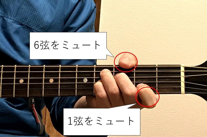 C#7を押さえる際は1弦と6弦をミュートしよう