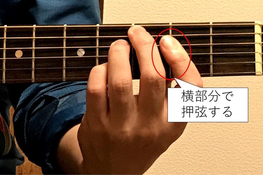 Cdimを押さえる人差し指は傾けて横部分で押弦する