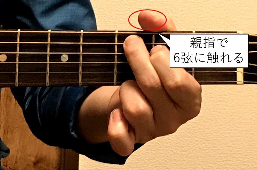 親指で6弦をミュートする