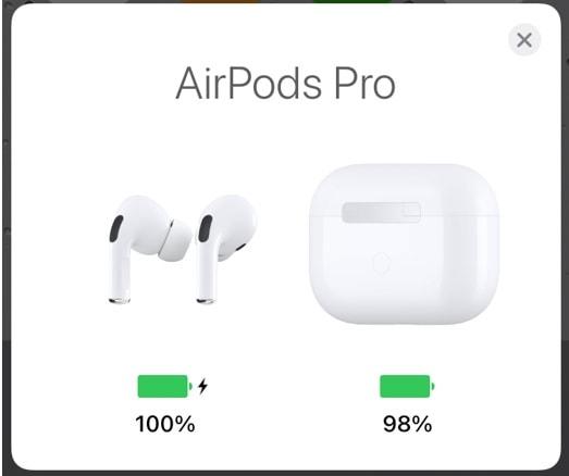 AirPods proの充電状態