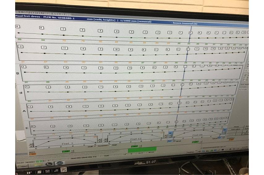 すり合わせ調整後にPLEKで測定した各弦と各フレットの状態