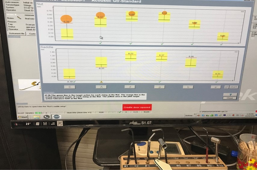 PLEKで測定したナットとサドルの状態
