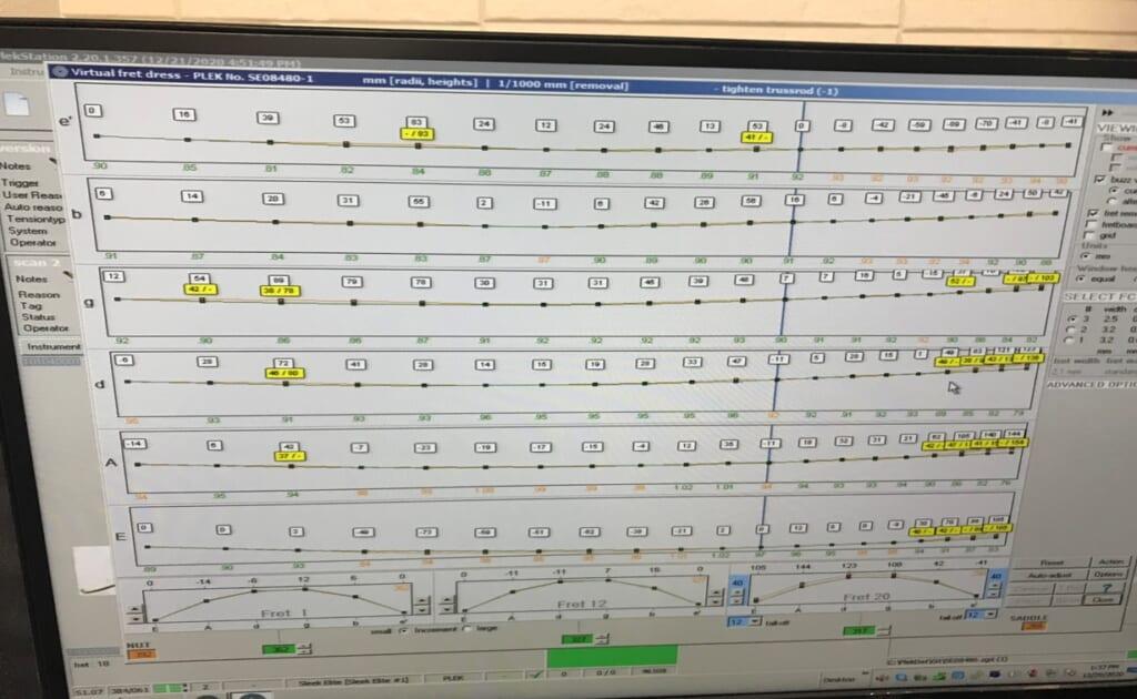 トラスロッド調整後にPLEKで測定した各弦と各フレットの状態