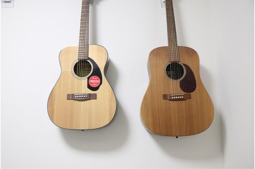 Fender CC-60S Concertとドレッドノートのサイズ比較
