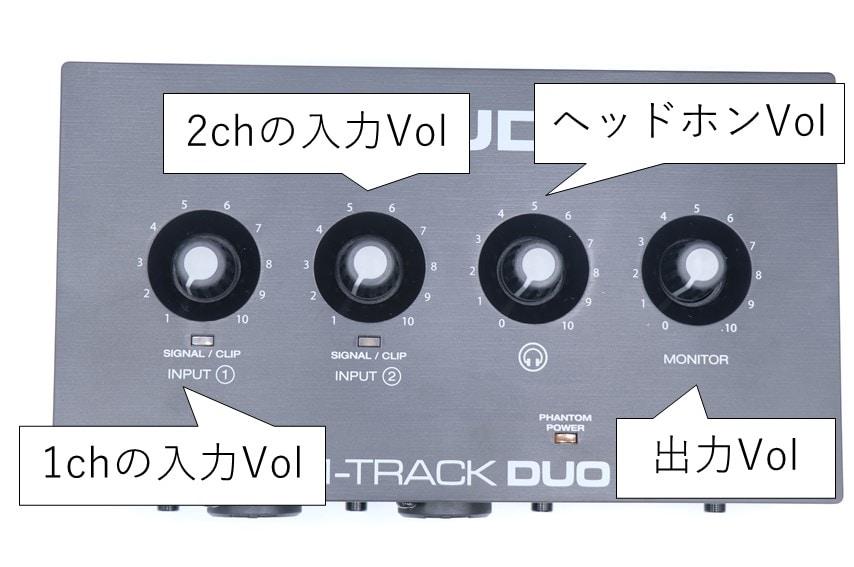 M-Audio M-Track DUOを上から撮った写真